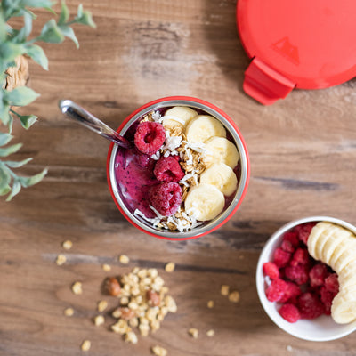 Leak Proof 16oz Thermal Bowl With Safe & Easy 4 Lock Lid - Red - Lifestyle, prepping yogurt with banana and raspberries