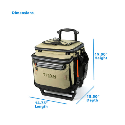 "Titan Deep Freeze® 60 (50+10) Can Rolling Cooler - Moss - Dimensions: (L x D x H) 14.75"" x 15.50"" x 19.00"""