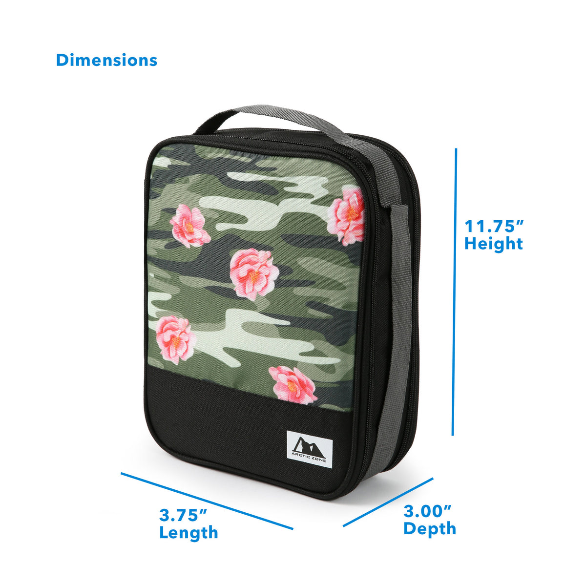 "Arctic Zone® Expandable Urban Lunch Pack - Rose Camo - Dimensions (L x D x H) 3.75"" x 3.00"" x 11.75"""