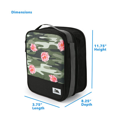 "Arctic Zone® Expandable Urban Lunch Pack - Rose Camo - Dimensions (L x D x H) 3.75"" x 8.25"" x 11.75"""