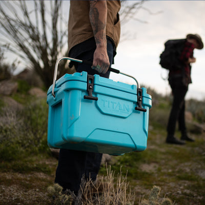 Titan Deep Freeze® 20Q Premium Ice Chest - Blue - Lifestyle, on the way to the camp site