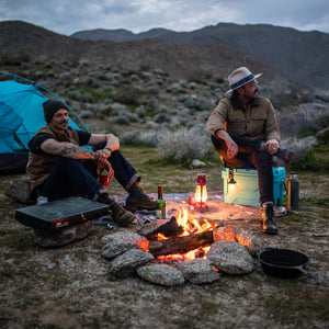 Titan Deep Freeze® 20Q High Performance Cooler - Lifestyle camp fire