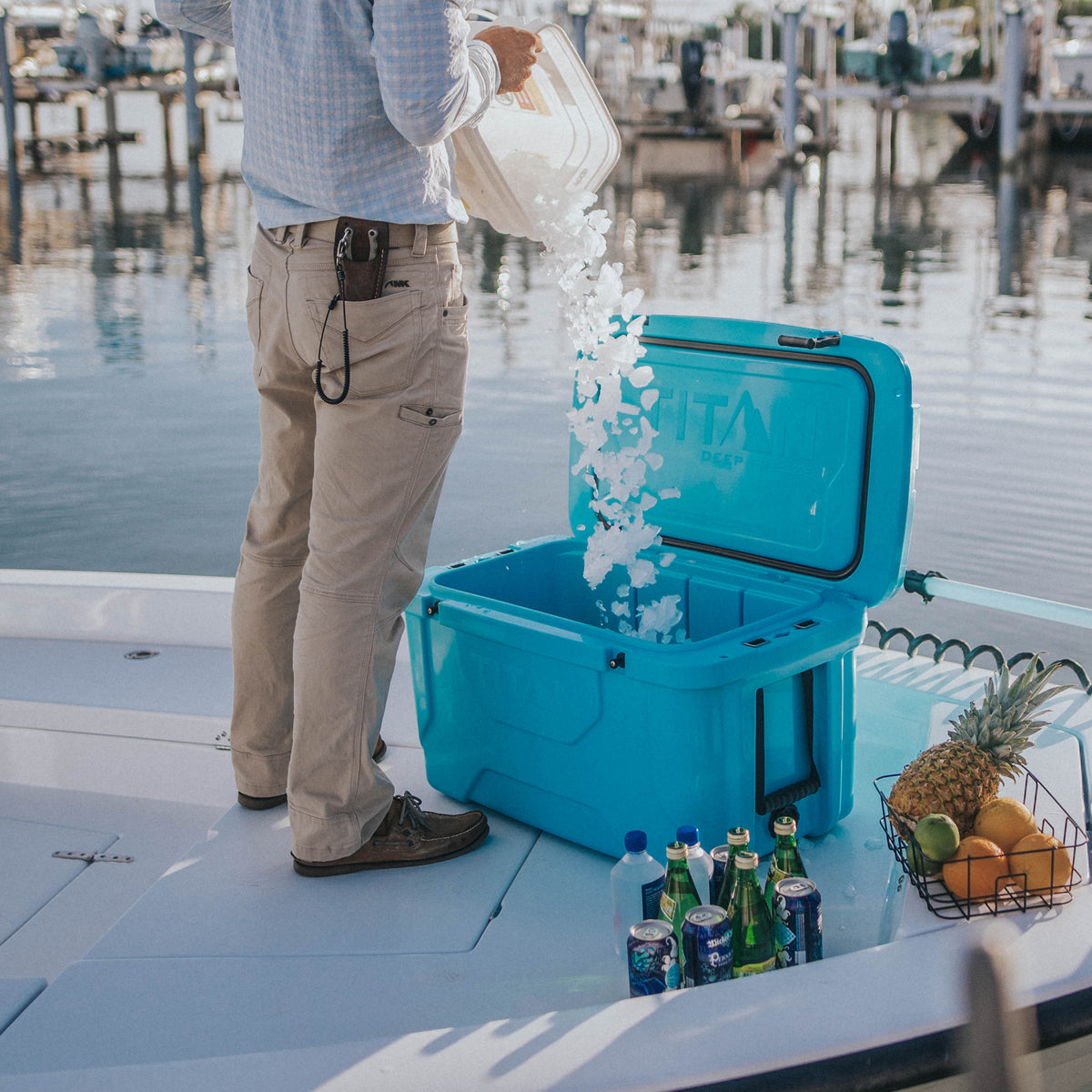 Titan Deep Freeze® 55Q High Performance Cooler - Lifestyle -prep for boating