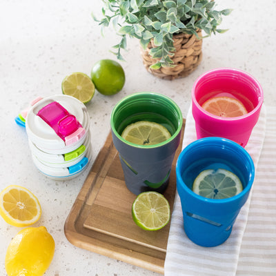 Arctic Zone® 16oz Super Chug™ - Gray - Lifestyle, All three colors filled with lemonade