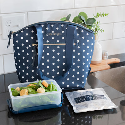 Arctic Zone® Dabney Lee Soft Tote - Dottie Navy - Lifestyle, Lunch tote with ice pack and container
