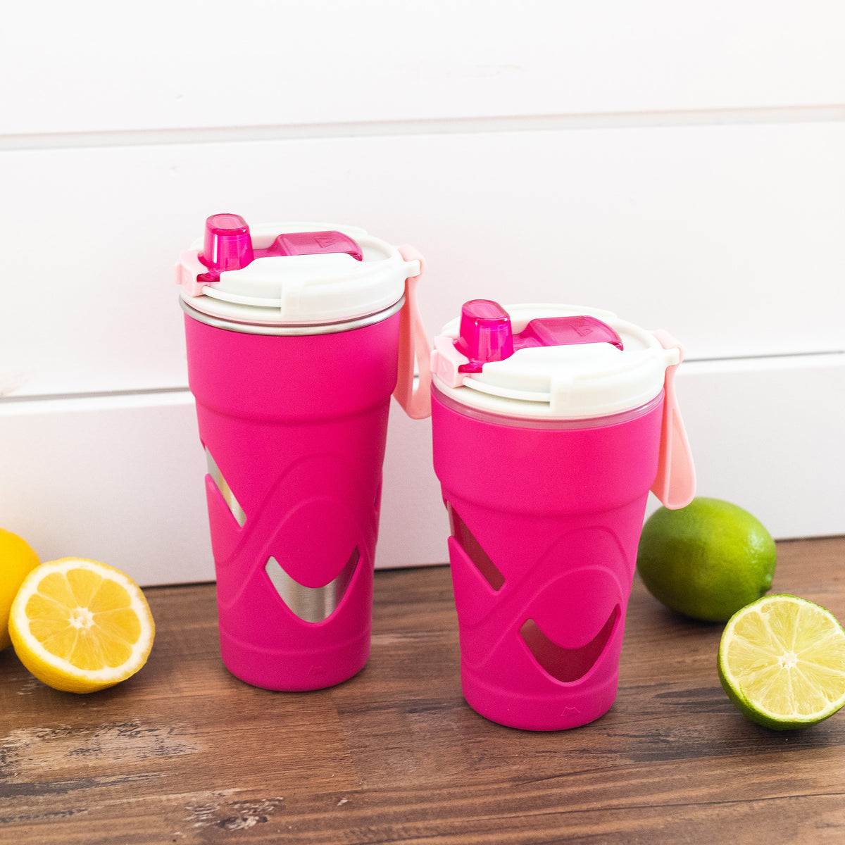 Arctic Zone® 16oz Super Chug™ - Pink - Lifestyle, Large and small tumblers together