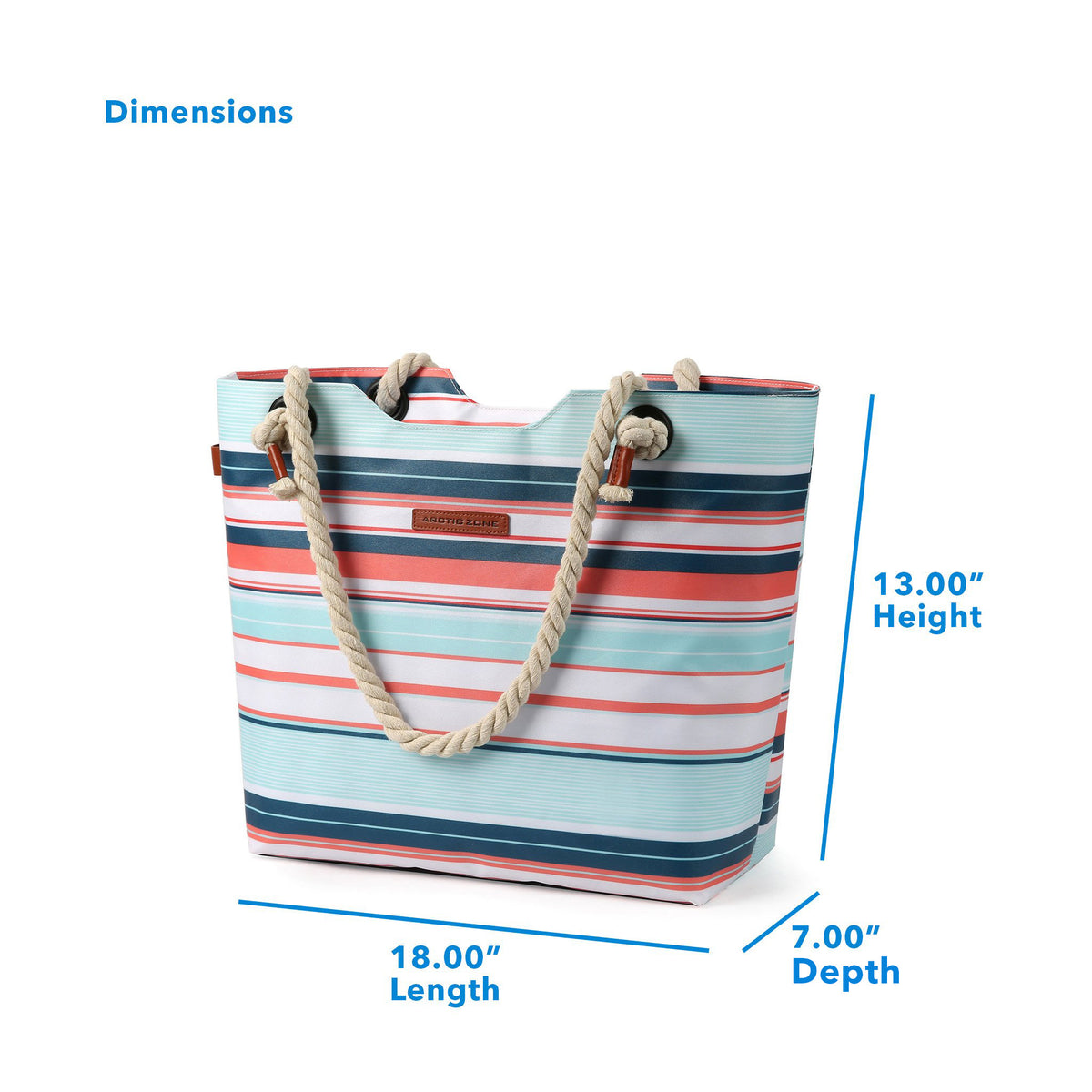 "Arctic Zone® 16 Can Oversized Commuter Beach Tote - Stripes - Dimensions: (L x D x H) 18.00"" x 7.00"" x 13.00"""