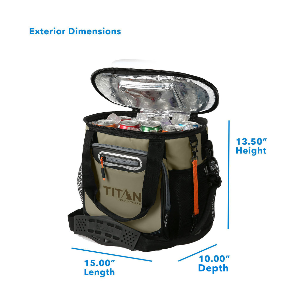 "Titan Deep Freeze® 24 Can Bucket Tote - Tan - Exterior dimensions: (L x D x H) 15.00"" x 10.00"" x 13.50"""