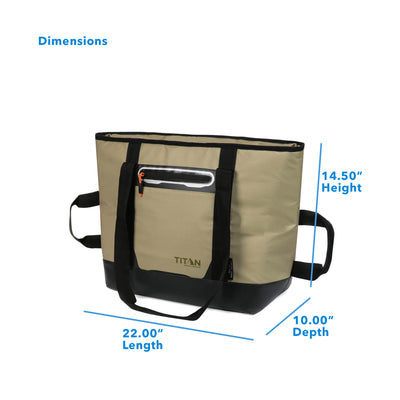 "Titan Deep Freeze® 30 Can Insulated Tote - Moss - Dimensions: (L x D x H) 22.00"" x 10.00"" x 14.50"""