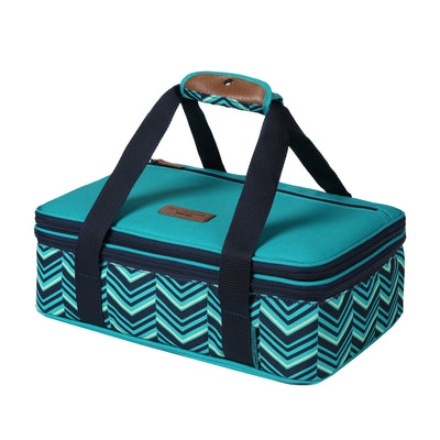 Arctic Zone® Food Pro Expandable Thermal Carrier - Teal - Front, collapsed, closed