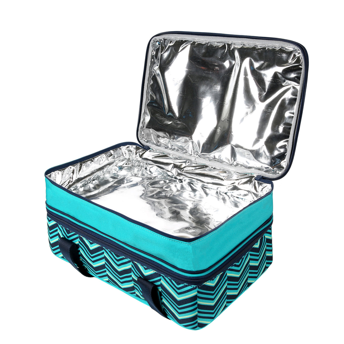 Arctic Zone® Food Pro Expandable Thermal Carrier - Teal - Top, open, empty