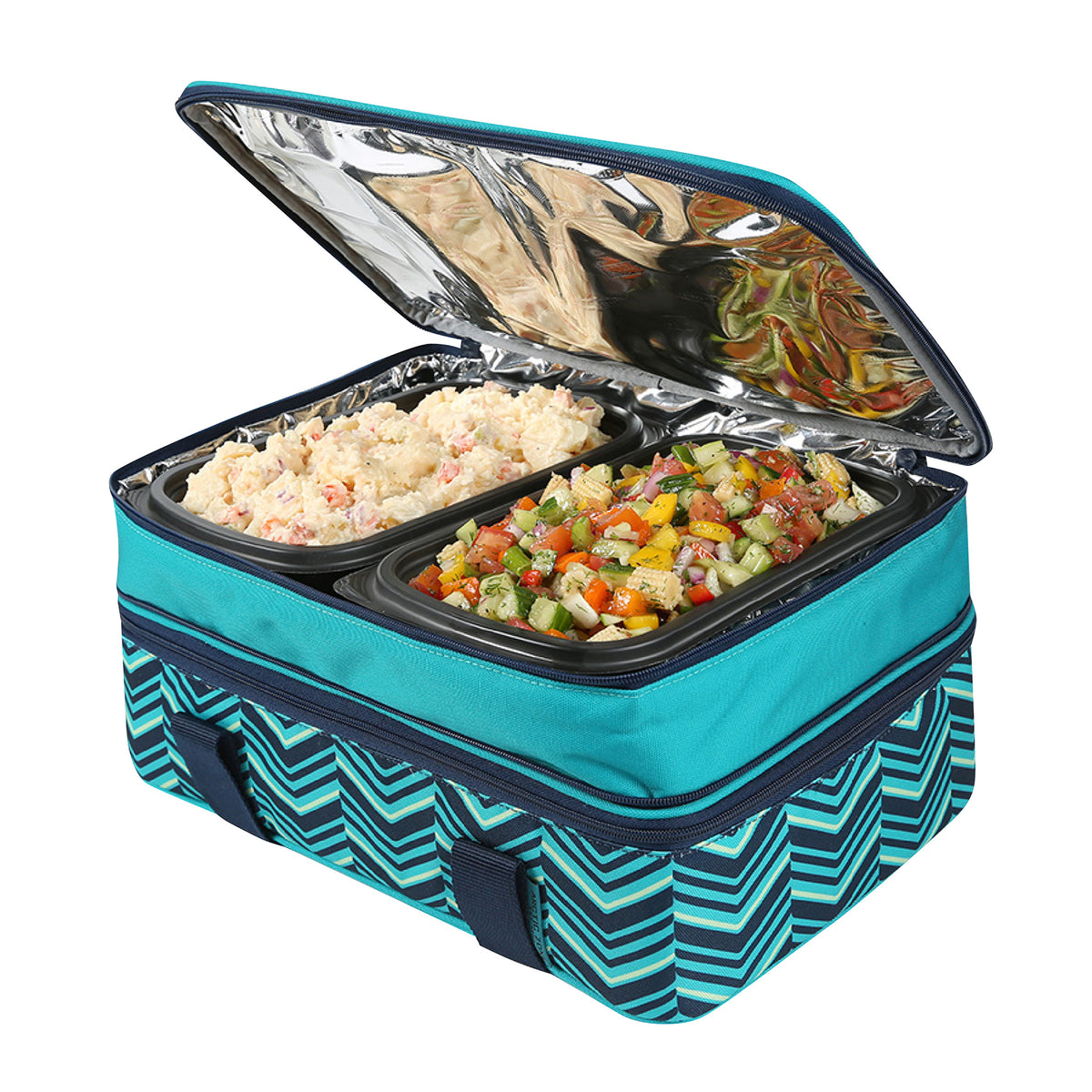 Arctic Zone® Food Pro Expandable Thermal Carrier - Teal - Top propped