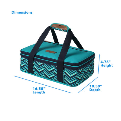 "Arctic Zone® Food Pro Expandable Thermal Carrier - Teal - Dimensions: (L x D x H) 16.50"" x 10.50"" x 4.75"""