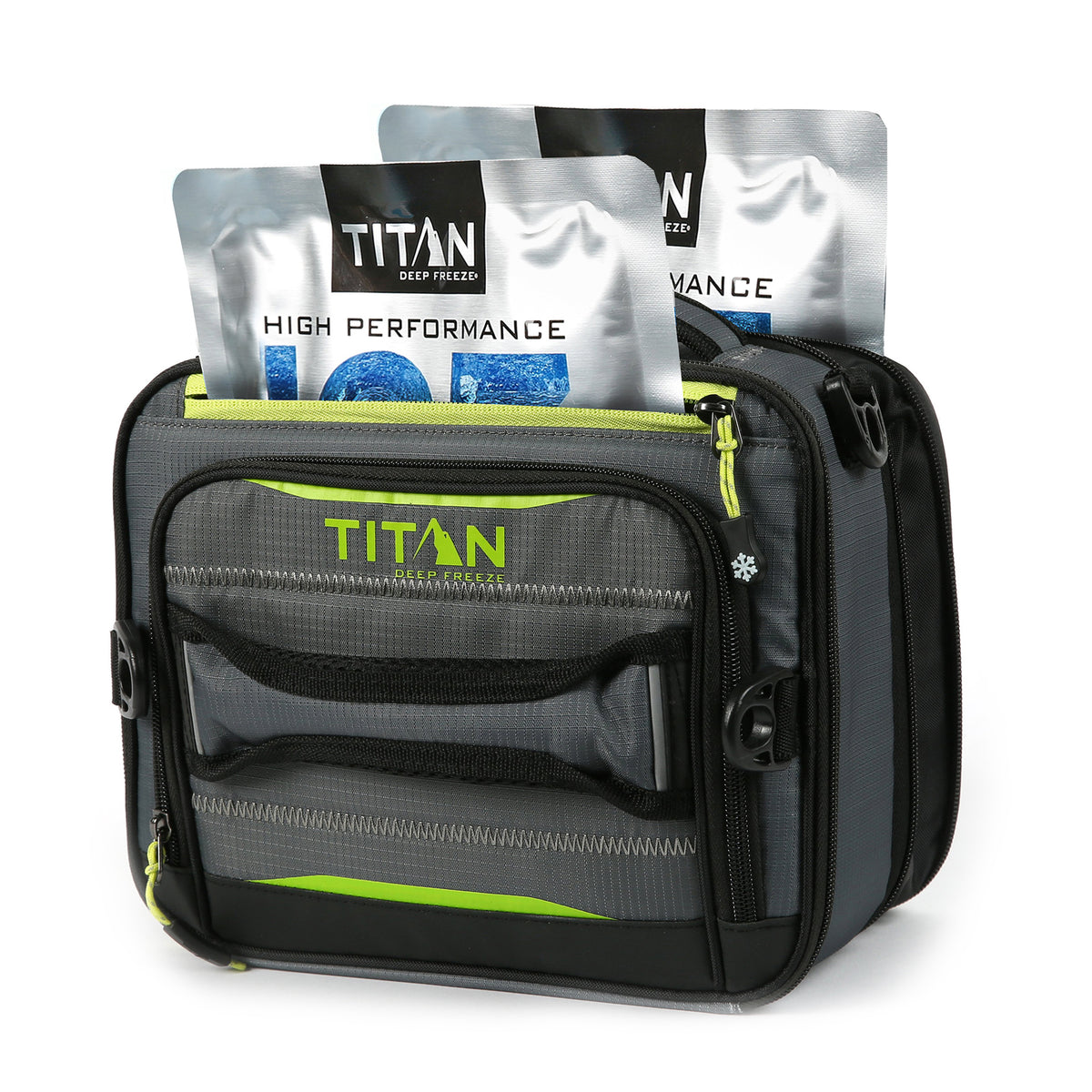 Titan Deep Freeze® High Performance Expandable Horizontal Lunch Pack - Grey - Front with ice packs