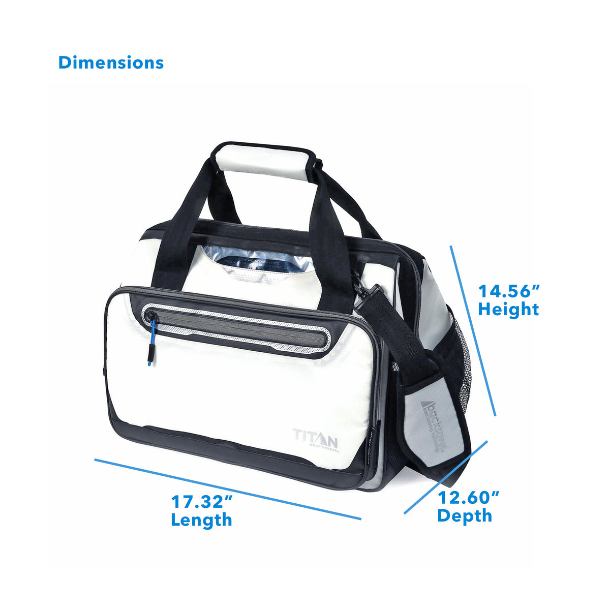 "Titan Deep Freeze® 40 Can Duffel - White - Dimensions: (L x D x H) 17.32"" x 12.60"" x 14.56"""