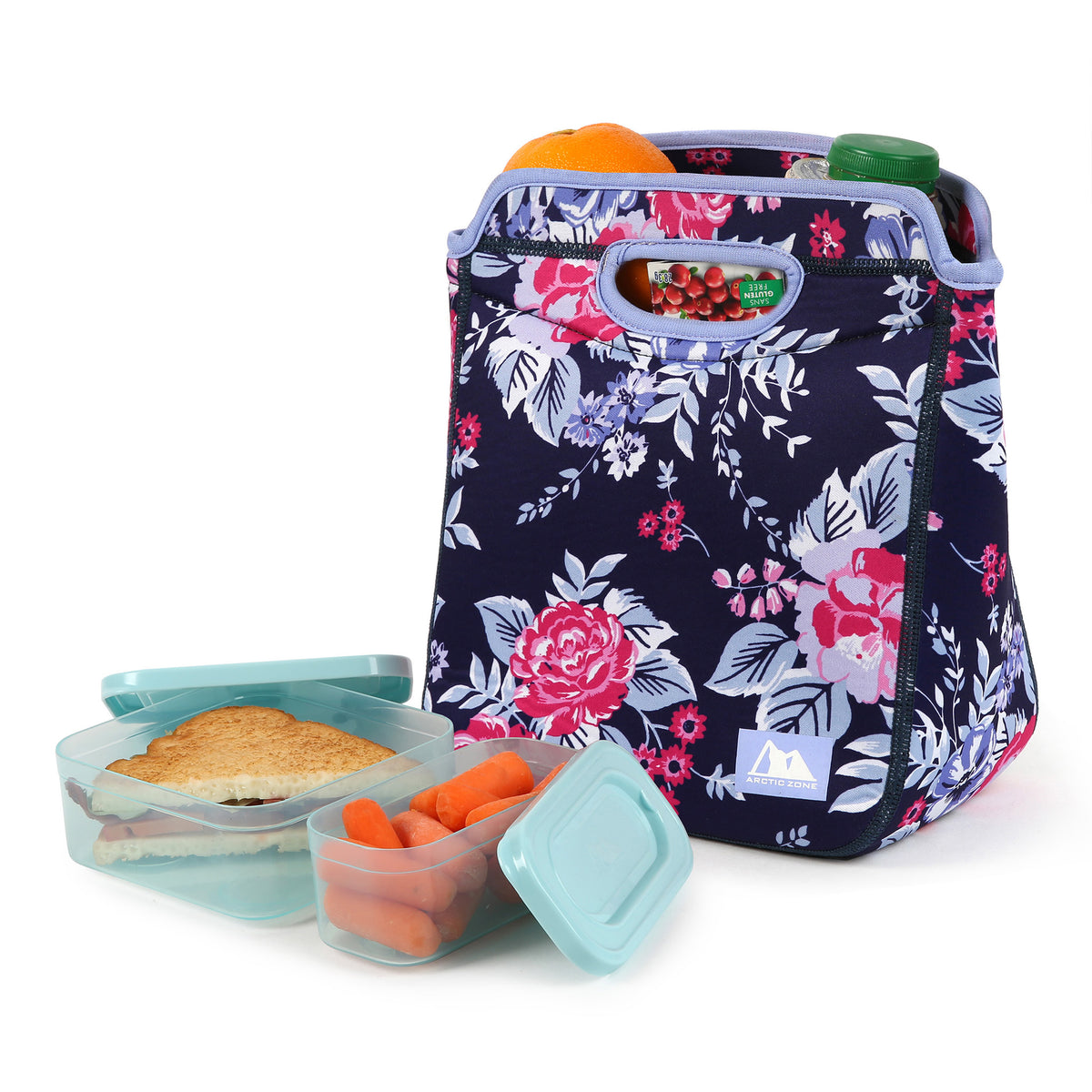 Neoprene Zaza Tote with 210gm Ice pack & 4 piece Kids Sandwich Set - Propped with food and snacks