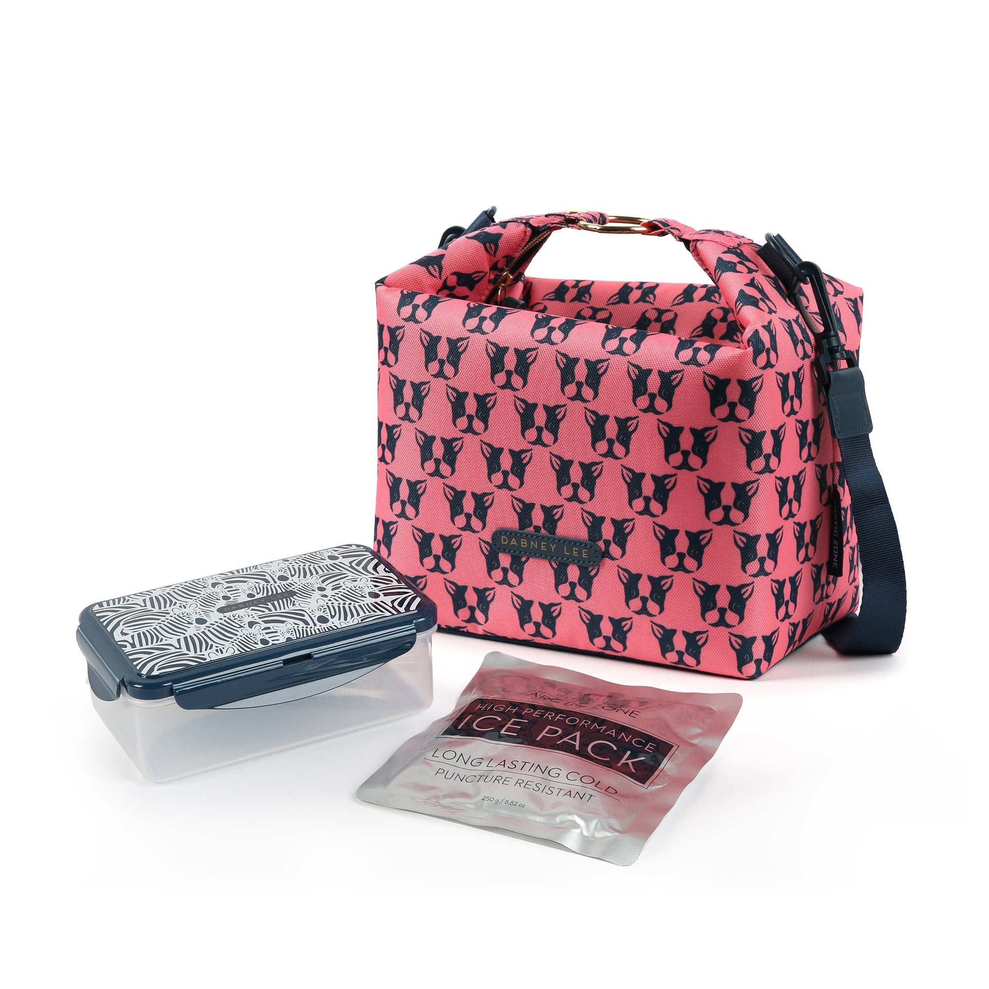 Arctic Zone® Dabney Lee Zinnia Tote - Polly Coral - Bag with ice pack and container