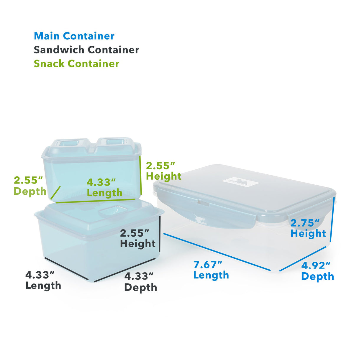 "Arctic Zone® High Performance Meal Prep Lunch Bag M.D. - Leafy Lime - Main Container (L x D x H) 7.67"" x 4.92"" x 2.75"", Sandwich Container : (L x D x H) 4.33"" x 4.33"" x 2.55"", Snack Container: (L x D x H) 4.33"" x 2.55"" x 2.55"""