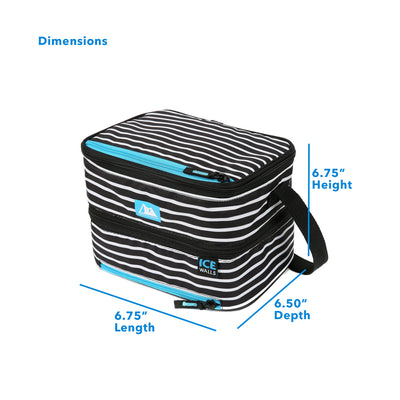 "Arctic Zone® Ice Walls® Dual Compartment Lunch Pack - Classic Stripes - Dimensions: (L x D x H) 9.50"" x 6.50"" x 6.75"""