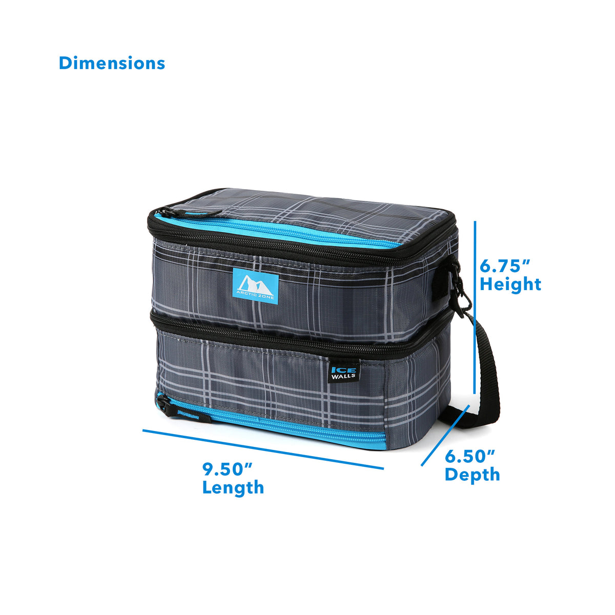 "Arctic Zone® Ice Walls® Dual Compartment Lunch Pack - Wilfred Plaid - Dimensions: (L x D x H) 9.50"" x 6.50"" x 6.75"""