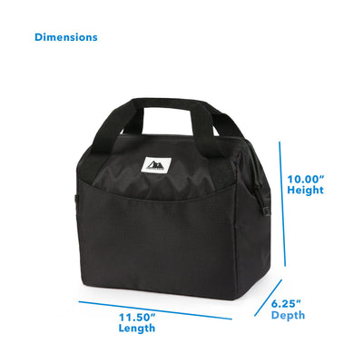 "Arctic Zone® High Performance Meal Prep Lunch Bag M.D. - Black - Dimensions (L x D x H) 11.50"" x 6.25"" x 10.00"""