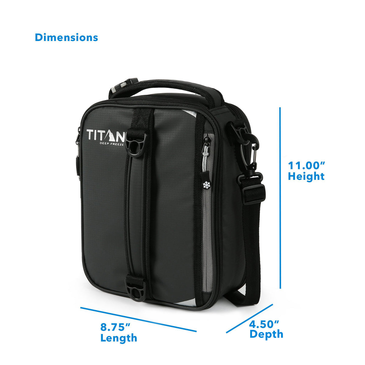 "Titan Deep Freeze® Expandable Lunch Box - Black - Dimensions: (L x D x H) 8.75"" x 4.50"" x 11.00"""