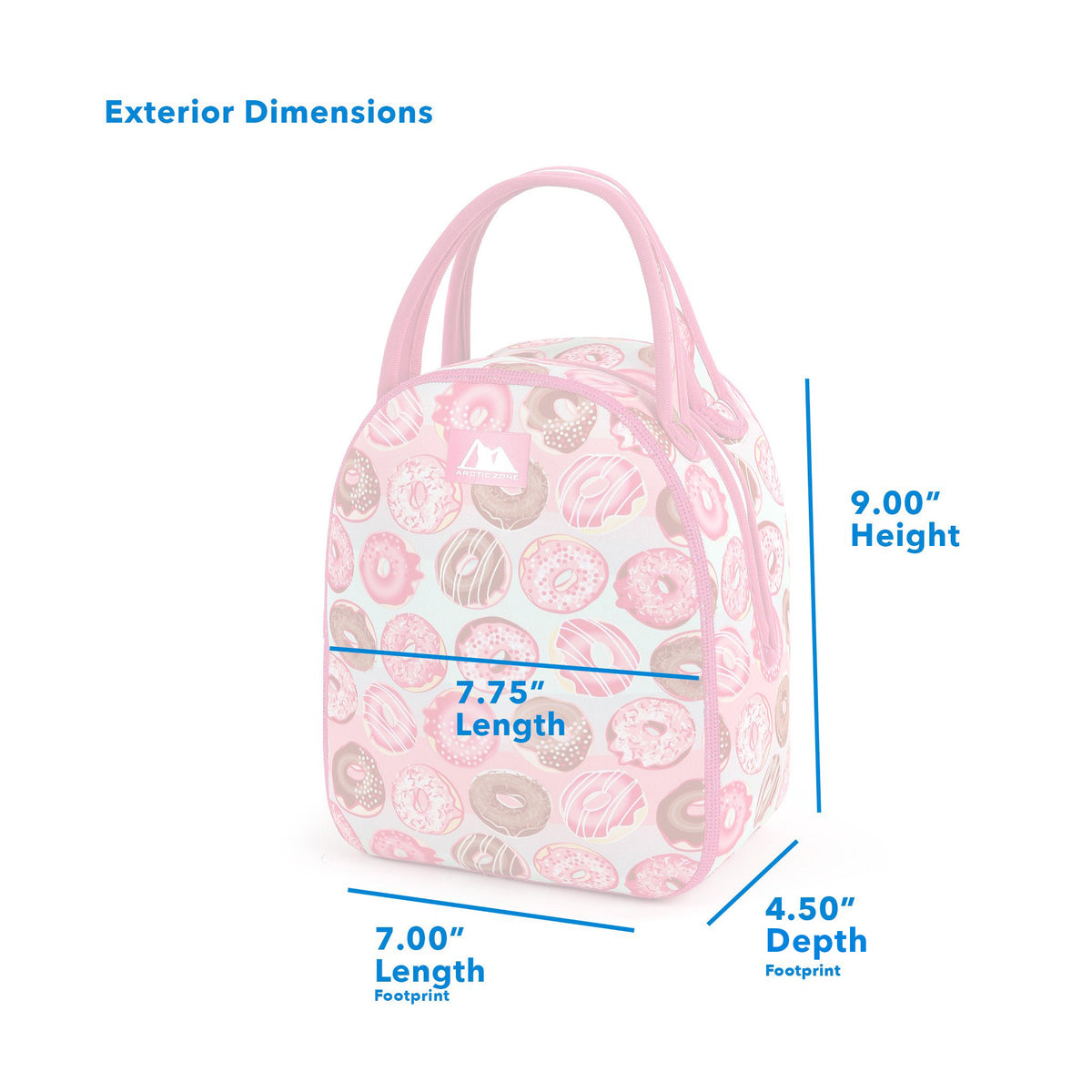 "Arctic Zone® Neoprene Hannah Tote - Dimensions - (L x D x H) 7.00"" x 4.50"" x 9.00"", Half way length 7.75"""