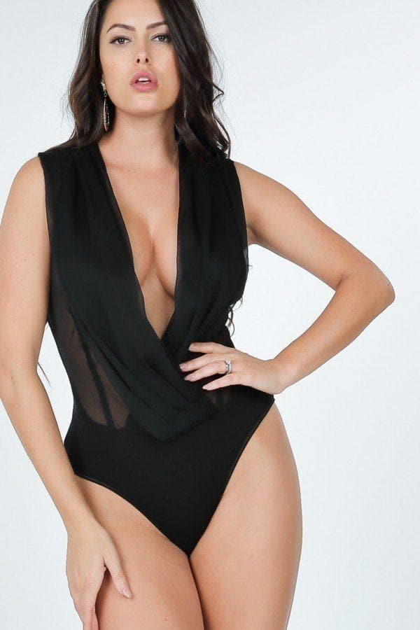 Pleated Overlap Front Bodysuit