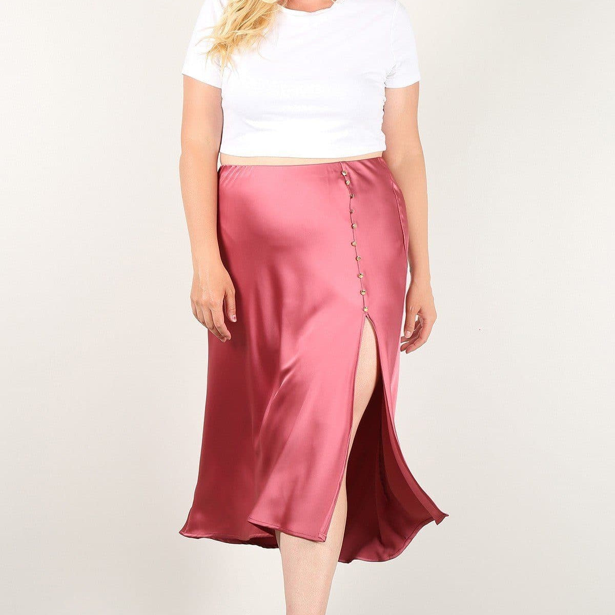 High-Waist Skirt With Button Trim And Side Slit