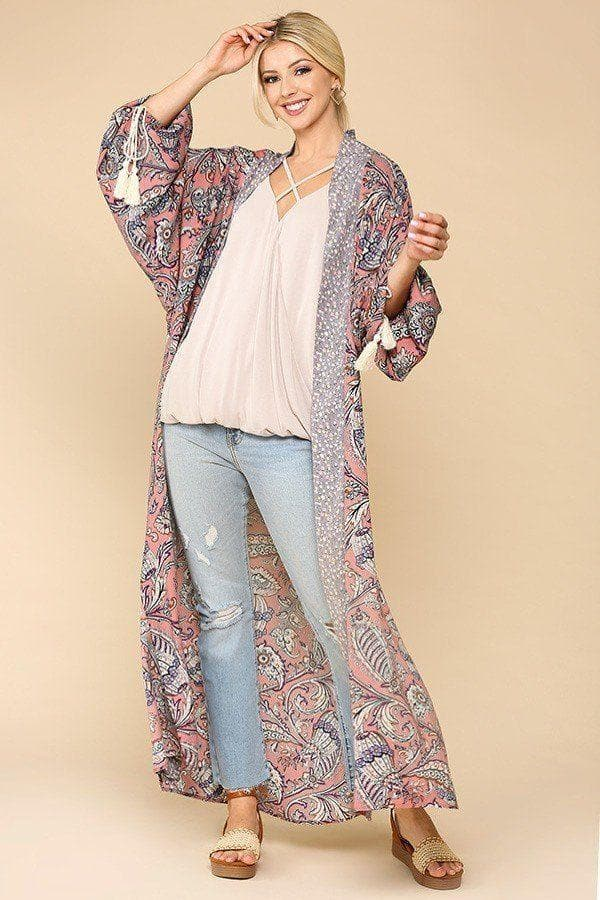 Open Front Kimono With Side Slits