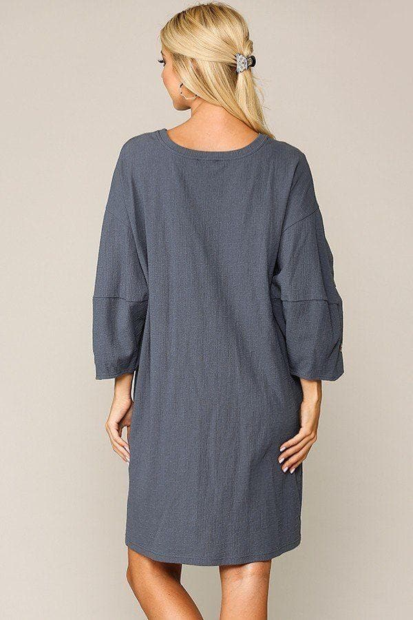 Textured Button Accent Puff Sleeve Side Pockets Dress