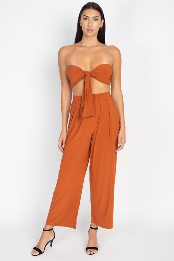 Front Tie Top & Pants Set