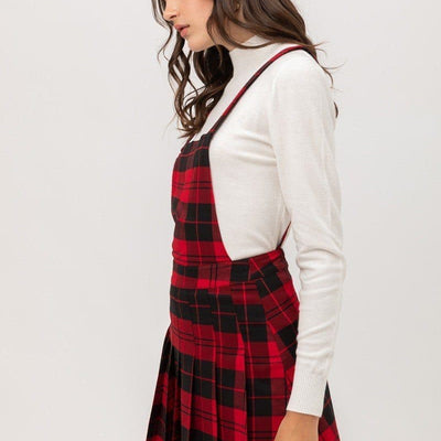 Woven Stretch Plaid Pleated Skirt