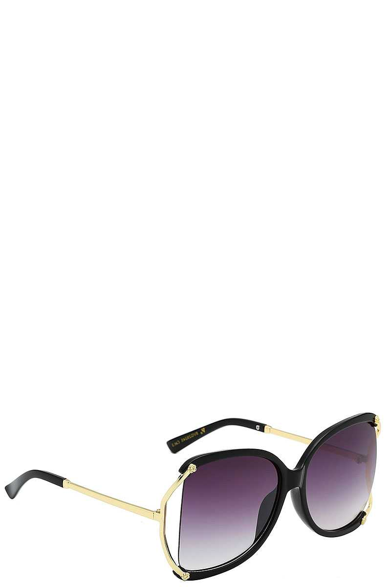 Stylish Polymer C Frame Metallic Temple Womens Sunglasses
