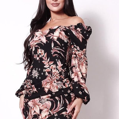 Surplus Shirred Hem Floral Mini Dress