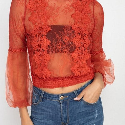 Lace Trim Balloon Sleeve Smocked Top