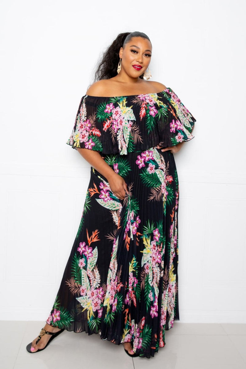 Tropical Printed Off Shoulder Pleated Maxi Dress