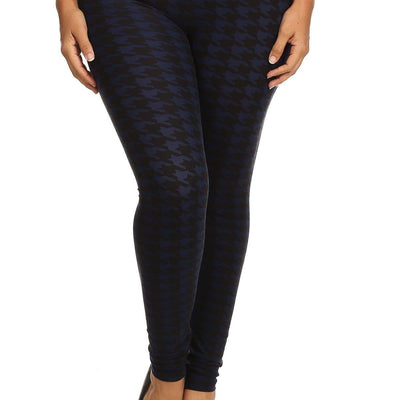 Plus Size Houndstooth Graphic Print Leggings