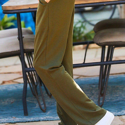 Waist Elastic Band Adjustable Waist Strap Side Pocket Straight French Terry Solid Pants