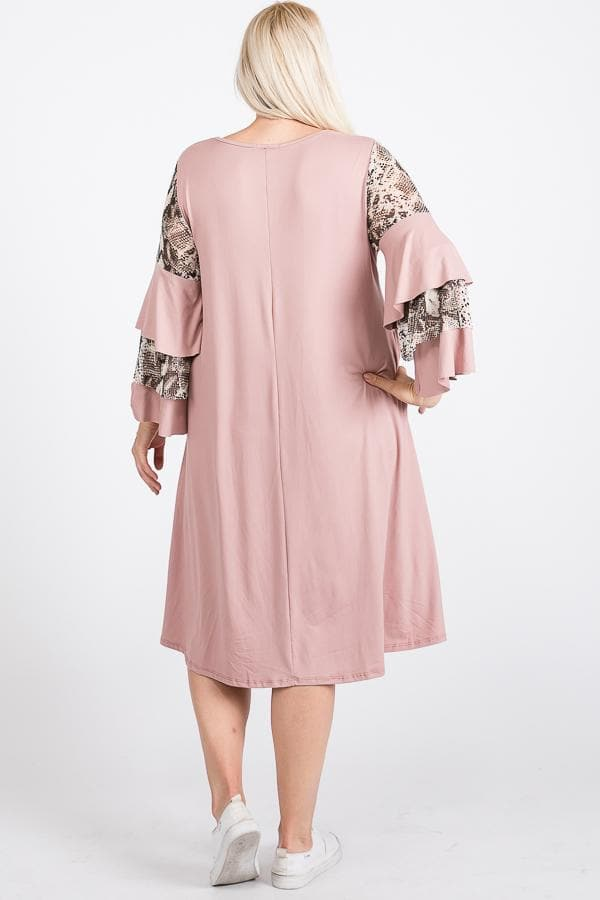 Mixed Ruffle Sleeve With Hidden Pocket A Line Dress