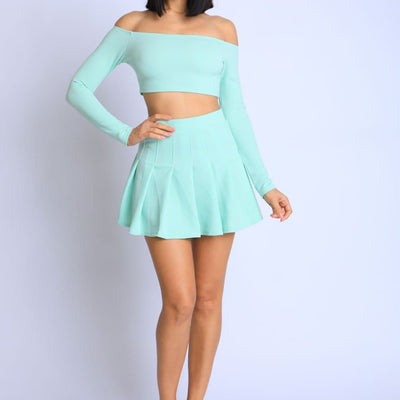 Off Shoulder Skater Skirt Set