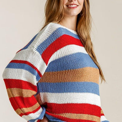 Multicolored Stripe Knit Sweater