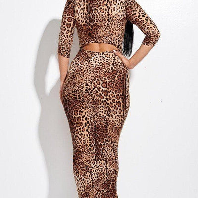 Animal Print 3/4 Sleeve Midi Dress With Back Cut Out