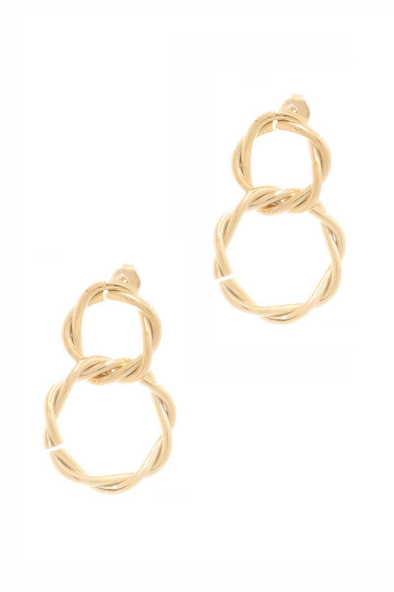 Secret Box Double Twist Metal Dangle Stud Earring
