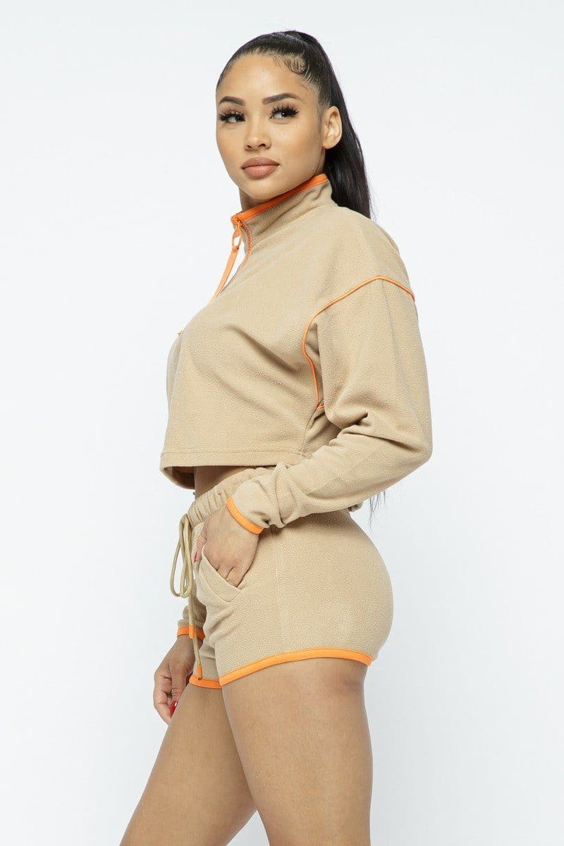 Sporty Crop Top High-waist Shorts Set