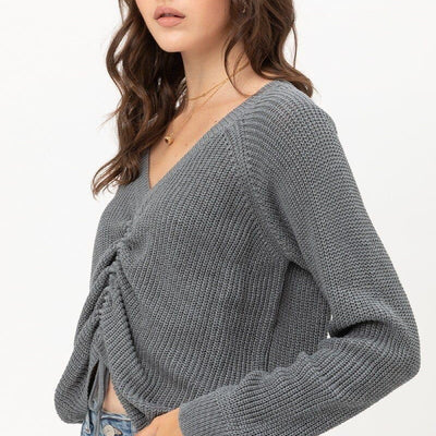Long Sleeves Tied Up Ruched Top