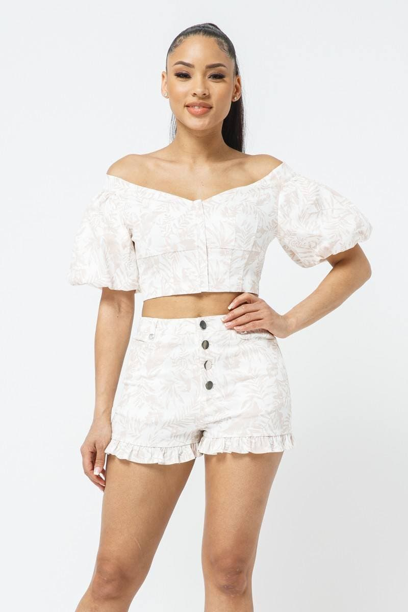 Cotton Off-shoulder Puff Sleeve Crop Top With Front Zipped Matching Shorts Set