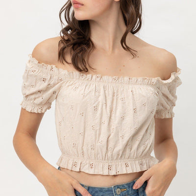 Off Shoulder Cropped Top Puff Sleeve