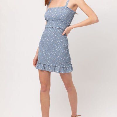 Woven Printed Smocking Dress