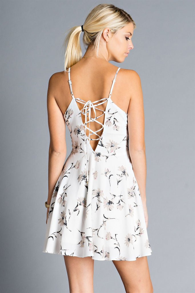 Womens Ivory Floral Lace-Up Dress